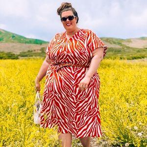 Zebra print V neck short sleeve dress